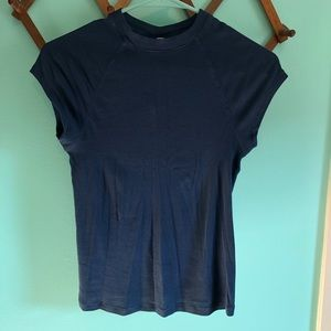 🆕Free People Blue Ribbed Easy Baby Tee